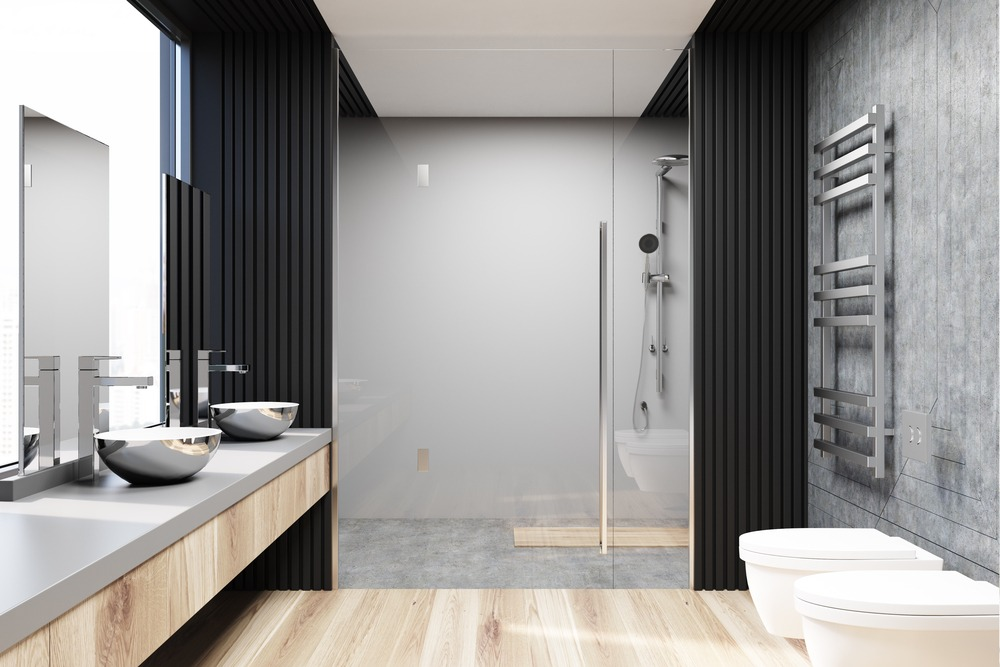 Gray and concrete bathroom interior, a shower
