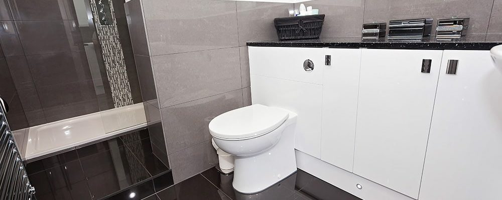 Image of a toilet and gleaming bathroom tiles