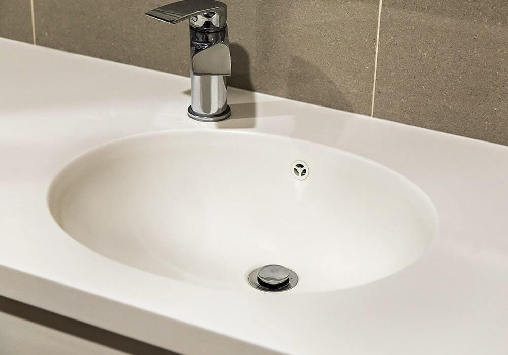 A modern new sink and tap.